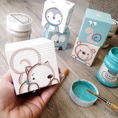 Cute woodland critters - Maria D. Diy Baby Gifts, Baby Crafts, Diy And Crafts, Crafts For Kids, Woodland Critters, Baby Painting, Diy Bebe, Baby Art, Wood Toys