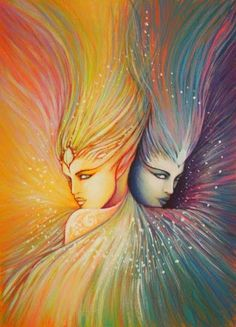 what i actually liked about this pic is that it shows the duality of a gemini.the yellowish shade twin shows the bright and bubbly gemini while the blueish one shows the dark and mysterious side of a gemini which we usually hide m others. Gemini Art, Gemini Life, Gemini Woman, Zodiac Signs Gemini, Zodiac Art, Gemini Horoscope, Tarot, Gemini And Cancer, Illustration