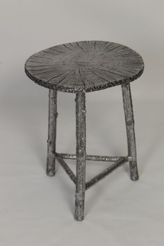 With its wood stool look, the Knox and Harrison Cast Aluminum Accent Table - Silver is filled with organic appeal. This accent table is. Find Furniture, Black Furniture, Shabby Chic Furniture, Furniture Making, Furniture Decor, Small End Tables, Sofa End Tables, Wood Stool, Bronze Finish