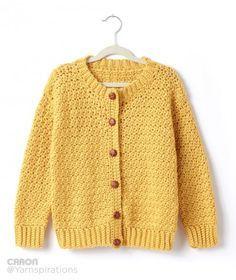 Child's Crochet Crew Neck Cardigan - Patterns | Yarnspirations