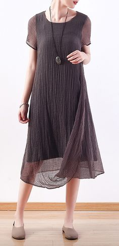 8c3e21203cd8 Chic o neck asymmetric silk linen clothes For Women Korea Work Outfits gray  Maxi Dresses Summer