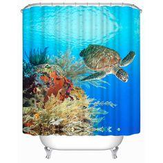 3D Underwater World Turtle Bath Curtain Polyester Waterproof Bath Shower Shade Hanging Bathroom Door Curtain Shower Shelter  #Affiliate