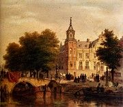 "New artwork for sale! - "" Hove Bartholomeus Johannes Van A Sunlit Townview With Figures Gathered On A Square Along A Canal by Bartholomeus Johannes Van Hove "" - http://ift.tt/2pdwKHV"