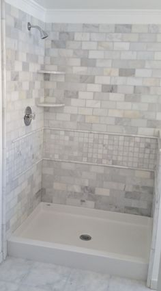 Best Bath shower pan with tile wall surround.