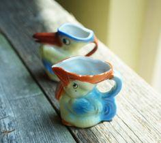 Set of 2 Vintage 1930's Pottery Bird Mini Pitcher Creamer Made in Czechoslovakia…