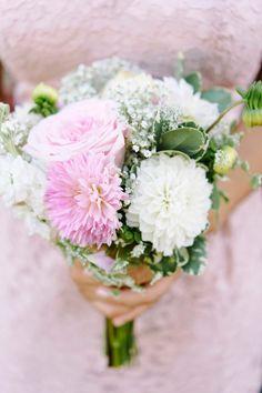 Rustic Blush & White Bridesmaid Bouquet #weddingbouquet #bouquet