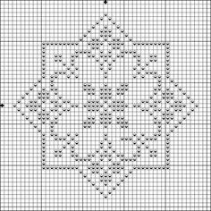 Pattern star biscornu - Crochet / knit / stitch charts and graphs Biscornu Cross Stitch, Cross Stitch Embroidery, Embroidery Patterns, Filet Crochet Charts, Knitting Charts, Cross Stitch Designs, Cross Stitch Patterns, Blackwork, Broderie Bargello