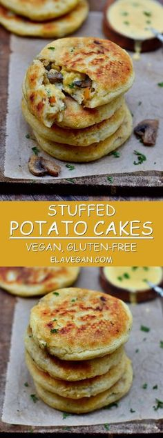These stuffed potato cakes are a great comfort food and perfect for lunch or din. These stuffed potato cakes are a great comfort food and perfect for lunch or dinner. The recipe is vegan, gluten-fre Whole Foods, Whole Food Recipes, Cooking Recipes, Dinner Recipes, Cake Recipes, Breakfast Recipes, Cooking Games, Gf Recipes, Diet Breakfast