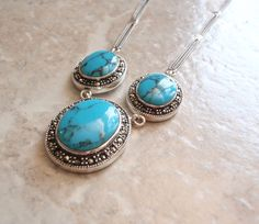 Turquoise Marcasite Necklace Sterling Silver Bib Style Natural Stabilized Turquoise Vintage V0457 by cutterstone on Etsy