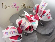 Birthday Flip Flops bow flip flops ribbon Initial by hellodesigns, $25.00