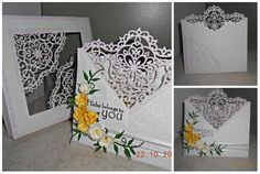 Heartfelt creations Decorative Blossoms Corner Die. Handmade wedding card and matching card-box. Yellow roses. Inspired by Cristina Griffiths card and tutorial   http://www.pinterest.com/pin/434034482811940361/