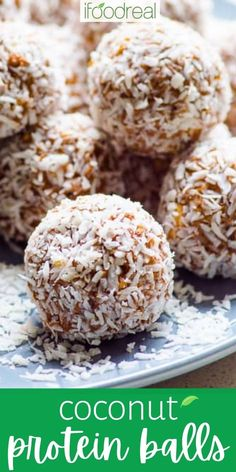 These Coconut Protein Balls taste like no bake bars, contain just 6 ingredients with no added sugars, and take 20 minutes to make. This protein ball recipe is perfect for a pre/post-workout snack or a way to curb sweet cravings, with 5g of protein per portion! Lunch Box Recipes, Candy Recipes, Snack Recipes, Cooking Recipes, Coconut Protein, Post Workout Snacks, Healthy Snacks, Healthy Kids, Healthy Recipes