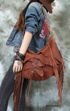 Tribal chestnut caramel brick brown leather fringed hobo bag