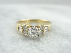 Modern 14K Yellow Gold Mixed Cuts Diamond Engagement by MSJewelers