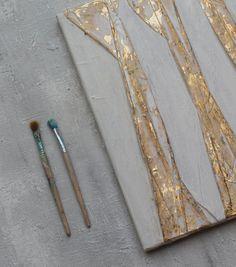 Blattgold weiss abstrakte Malerei Gold 40x40x15 von AtelierMaltopf
