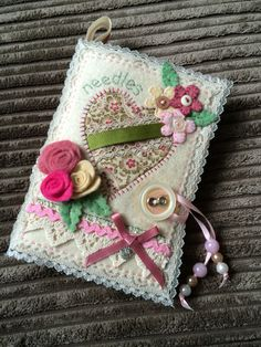 Shabby chic needle case made from felt, a gift for my daughter