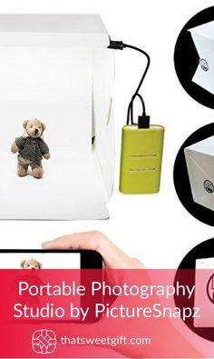 Portable Photography Studio 9 Inch - Mini Photo Studio Lightbox Product Photography Kit w/LED Lights + Black & White Backdrop + USB Cord (Photo Box Light Tent)