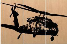 Blackhawk Helicopter Wall Art   Vintage by CedarWorkshop on Etsy