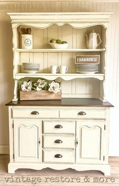 Ideas Model Kitchen Cabinets That is Simple Dining Room Decor dining room hutch decor Refurbished Furniture, Repurposed Furniture, Shabby Chic Furniture, Furniture Makeover, Refurbished Hutch, Rustic Furniture, Vintage Furniture, Painted Furniture, Kitchen Cabinets Models