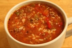 Crockpot Stuffed Pepper Soup Recipe  Leave out mean, substitute vegetable stock and brown rice for Daniel Fast.