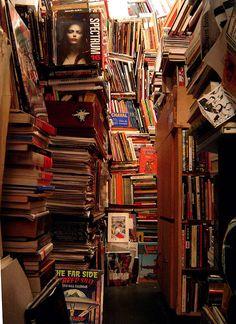 Wonderfully chaotic bookshop in the 6e arrondissement, Paris.