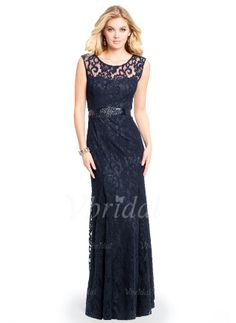 Mother of the Bride Dresses - $181.94 - Sheath/Column Scoop Neck Floor-Length Lace Mother of the Bride Dress With Sash Crystal Brooch (0085057597)
