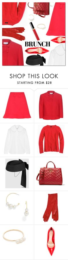 """Mother's Day Brunch Goals"" by danielle-487 ❤ liked on Polyvore featuring RED Valentino, Comme des Garçons GIRL, J.Crew, Gucci, BaubleBar, EF Collection, Alexander McQueen and brunchgoals"