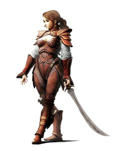 Female Human Fighter Rogue with Scimitar - Pathfinder PFRPG DND D&D 3.5 5th ed d20 fantasy