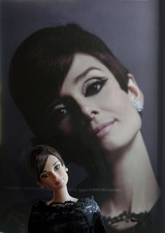The lovely, glamours and talented Audrey Hepburn and her Barbie.  <3 <3 Audrey!!!