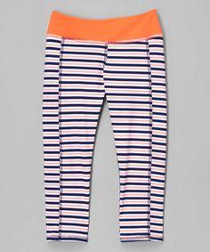 Look at this #zulilyfind! Navy & Tangerine Stripe Athletic Capri Leggings - Girls #zulilyfinds
