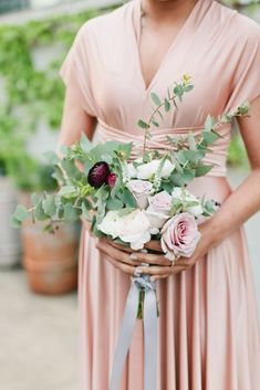 Modern Ranunculus, Rose and Eucalyptus Bouquet Blush Bridesmaid Dresses, Bridesmaid Flowers, Bridesmaids, Sweet Pea Bouquet, Wedding Roles, Ranunculus Bouquet, Eucalyptus Bouquet, Blush Peonies, Rose Centerpieces