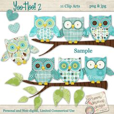 Owl Clip Art Digital Images handmade for greeting by songinmyheart, $4.95