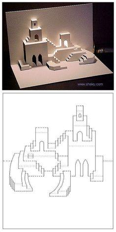 折纸 手工DIY 纸艺 剪纸 【立体卡片】沙漠之城