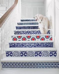 decorate your stairs - could use blue delft for a dutch inspired home
