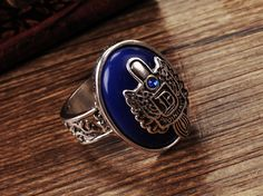 The vampire diaries jewelry Damon Salvatore ring cool Lapis Lazuli Stone ring