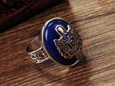 The vampire diaries jewelry Damon Salvatore ring cool Lapis Lazuli Stone ring