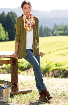 Jeans and a lightweight cardigan