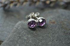 Rose cut amethyst and sterling silver stud earrings - February Birthstone £18.00