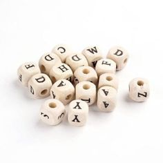 100pcs Wood Beads Cube with Letter 10mm Spacer Bead Jewelry Making Random Mixed
