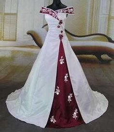 red and white Wedding Dress / Bridal Gown