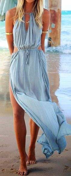 Long beach wear for ladies blue in color | Fashion And Style. Love this dress
