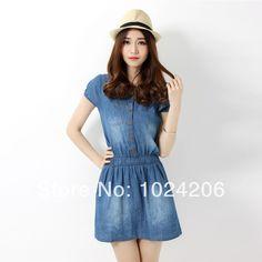 Free Shipping 2014 New Summer Style Fashion Washed Jean Short Sleeve Dresses Slim and O neck Tube Sundress $25.00
