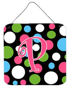 Letter P Initial Monogram - Polkadots and Pink Wall or Door Hanging Prints
