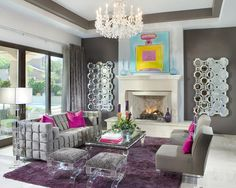 Colorful #Chanel-inspired oil painting above the fireplace in a super-glam living room- maybe a little too modern, but I love the colors.