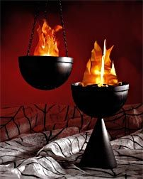 Seriously need some of these♥♥♥♥♥♥♥♥♥ Hanging Fiery Pot Hang this virtual flaming pot on your patio or inside your party room for a fiery look.