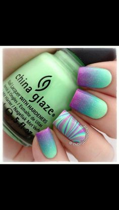 Neon ombré nail art with accent zebra nail