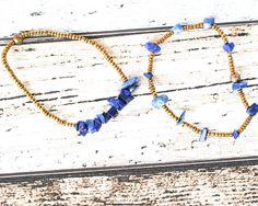 Blue Bead Sodalite Bracelet - Bronze Bead Gemstone Bracelet - Chip Bead Minimalist Bracelet - Sodalite Jewellery - Blue Bracelet - Upcycled thecoastaldesert handmade jewelry jewellery