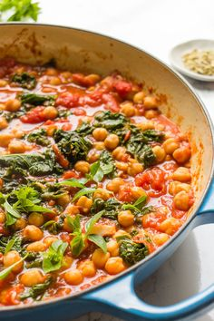 Garbanzo Beans And Kale Stew #Chickpea #garbanzobeans #garbanzos #chickpeas #cook #dinner #vegan #veganrecipes #veganfood #healthylifestyle #healthy #healthyfood #nutrition Garbanzo Bean Recipes, Cooking Garbanzo Beans, Chickpea Recipes, Vegetable Recipes, Vegetarian Recipes, Kale And Bean Soup, Bean Stew, Best Chili Recipe, Chili Recipes