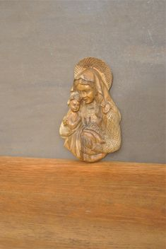 Wood Madonna and Child Plaque. Vintage Religious Wall Decor. Hand Carved Home Decor. by GoldenGully on Etsy