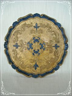 Vintage Tray Florentine Italy Gold Blue Round